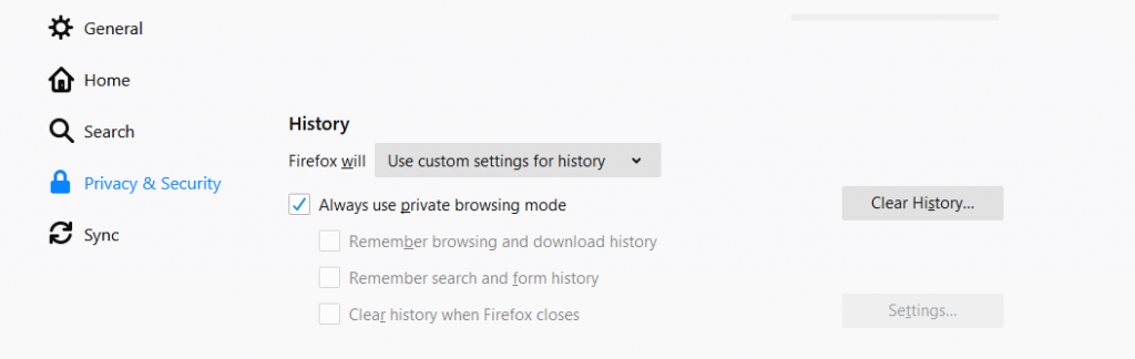 Firefox Privacy & Security Options to solve Amazon product images not loading problem in Firefox