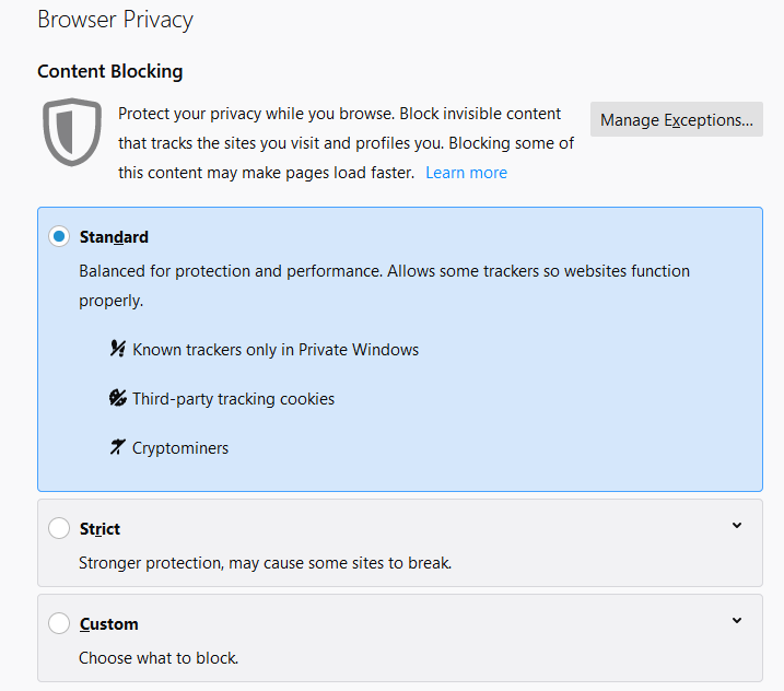 Firefox Browser Privacy Options