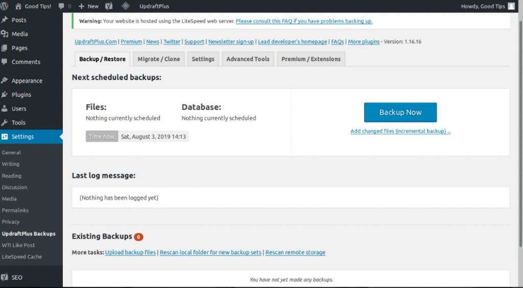 UpdraftPlus Plugin to Backup WordPress Site